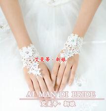 Victoria Flower Lace Rhinestone Bridal Wrist Gloves Wedding Braid Veils AMD3423