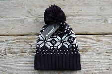 Fair Isle Pattern Snowboard Bobble Hat Beanie Navy Red Black Burgundy Knitted