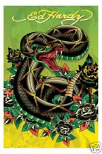 Poster Tattoo Art by ED HARDY - Snake (Green)  56880