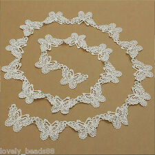 1 yard White Butterfly Lace Edge Trim Ribbon Wedding Applique DIY Sewing Craft