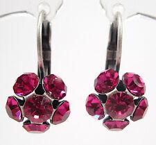 SoHo® Ohrringe Ohrhänger Blume Halbkugel geschliffene Kristalle fuchsia pink