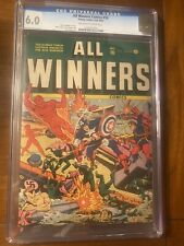 ALL WINNERS #10 1943 TIMELY CGC 6.0 OWW PAGES! RARE SCHOMBURG NAZI COVER! NICE!