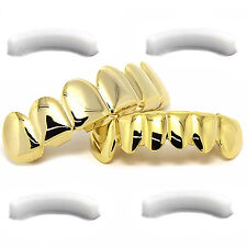 14k Gold Plated Hip Hop Teeth Grillz Caps Top & Bottom Grill Set 4 Silicone Bars