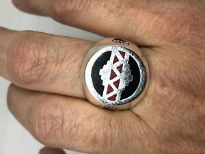 Vintage Southwetern Mens Ring Red Coral Silver Bronze Size 8