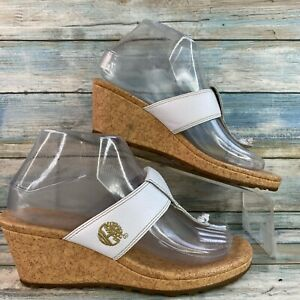 Timberland Womens White Thong Sandal Leather Uppers Wedge Heel Size 7M