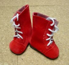 Doll Shoes, 72mm Red Suede Lace up Boots