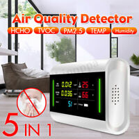 5-in-1 Air Quality Detector PM2.5 TVOC HCHO Formaldehyde Humidity Temperature