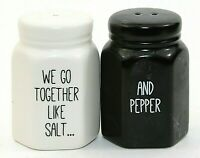 """Black and White Matching Salt & Pepper Shakers Ceramic Stoppers 2.75"""" EUC"""