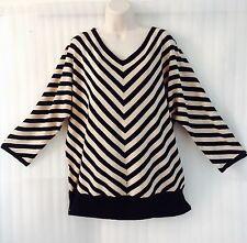 Premise Spring Plus Striped Sweater size 22/24/2X Black Beige Knit Top New $78