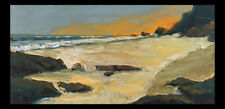 ORANGE TIDE Original Seascape Pacific Ocean Expression Painting 12x24 082317 KEN
