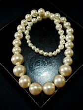 Long Vintage Art Deco Pearl Necklace, Large Graduated Simulated Wedding Pearls