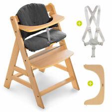 Hauck Hochstuhl Holz Baby Kinder Alpha Plus Natur bis 90 kg mit Sitzkissen Grau