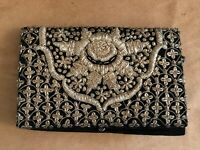 Gold embroidered Made in India vintage purse evening bag black clutch Jari hand