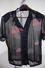 Sheri Martin 100% Polyester Multi-Colored Floral Sheer Button Down Top Size - 16