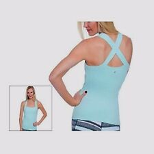 Soybu Ruched Panel Stretch Yoga Tank Ethereal Blue Size Large