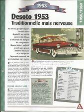 FICHE AUTOMOBILE DESOTO 1953