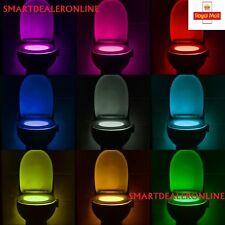 LED Toilet Seat Bowl Bath Light/Lamp Sensor Activation 8 Colours NightLamp
