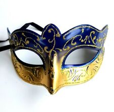 2 Masquerade Masks Gold Blue Venetian Style Carnival Theme Fancy Dress Masks
