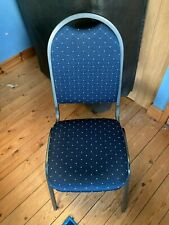 More details for blue banquet chair with grey metal legs unused sample one only