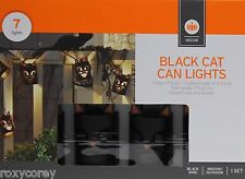 Halloween 7 Black Cat Can String Light Indoor/Outdoor Black Wire NIB
