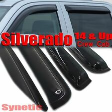 2014&Up Silverado Crew Cab Smoke Window Vent Visors Shade Sun/Rain Guard
