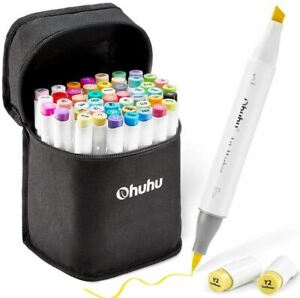 48 Colors Alcohol Brush Markers, Ohuhu Double Tipped ( Brush & Chisel ) Sketch M