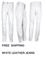 Mens Short Waist Side Laces Genuine Leather Jean Style White Pant Waist Size 44/""