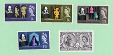 GB / UK 5 stamps, SC 402 - 406, Shakespeare 400th Birth Annvi ,1964 , MPH