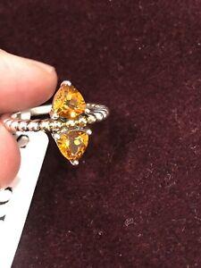 $450 NWT Lagos Metallic Treasure Chest 18K Gold & Silver Maderia Citrine Ring 7