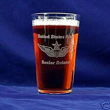 US Army Aviator 16oz etched Beer Glass set of 2