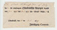 """Hannover - Osnabrück 1791(!), seltene Anzeige-Quittung 'Intelligenz-Comtoir""""."""