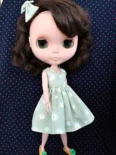 Blythe Doll Outfit Flower Print Green Dress + Hair Bow Set