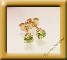 NEW 375 Gold Studs Brilliant Socket 3,00 mm 1 Pair Peridot