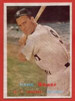 1957 Topps #240 Hank Bauer EX-EXMINT WRINKLE New York Yankees FREE SHIPPING