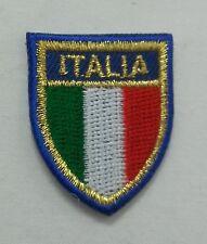TOPPA PATCH SCUDETTO ITALIA BORDO AZZURRO BLU ORO RICAMATA ADESIVA PICCOLA MINI
