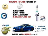 FOR SUBARU BRZ 2.0 200BHP 2012-> OIL AIR POLLEN 3 FILTER KIT + SPARK PLUGS