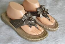 NEW Earth Spirit Ladies Gold Leather Wedge Mules Toe Post Sandals UK Size 8