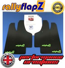 Rally Mud Flaps & Fixings - VAUXHALL CORSA D VXR (06-14) Black 4mm PVC Logo Lime