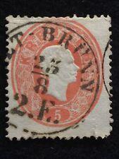 1860-61  SCOTTS# 14  5Kr (RED) AUSTRIA FRANZ JOSEF EMBOSSED NG HR TR USED STAMP!