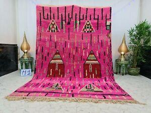 "Boujaad Moroccan Handmade Rug 6'6""x9'7"" Abstract Berber Pink Black Wool Rug"