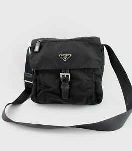 Prada Women's Black Nylon Fold Over Top Shoulder Bag Crossbody