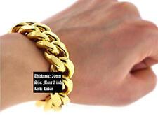 "Mens Heavy Chunky Hip Hop 20MM Cuban Link 14K Gold Plated Bracelet 8.5"" inch"