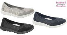 Ladies Boulevard Mesh Suede Memory Foam Lightweight Shoes Trainers Sizes 3-9 UK