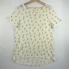 Zoe & Liv Womens Size XXL Tee Shirt Off White Pineapple Print Short Sleeves