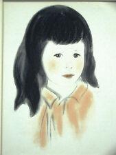 Newberry PORTRAIT of a LITTLE GIRL w DARK BLACK HAIR 1940 Vintage Print Matted