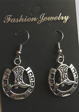 cowboy boots and horse shoe, earrings stainless steel ear wire, new unused