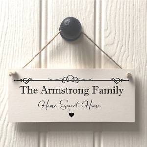 Family Name Plaque Sign Housewarming New Home Gift Handmade & Personalised