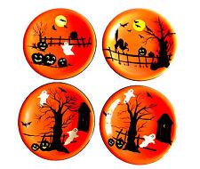 "Sakura Haunted Hideaway Appetizer Dessert Plates Set of 4 8"" Dia Halloween"
