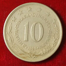 Münze Coin Jugoslawien Jugoslavija 10 Dinar Dinara 1980 (F9)