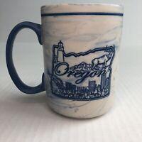 Blue Marbled Oregon Mug City Skyline Collectible Coffee Tea